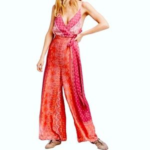 Free people printed tie jumpsuit